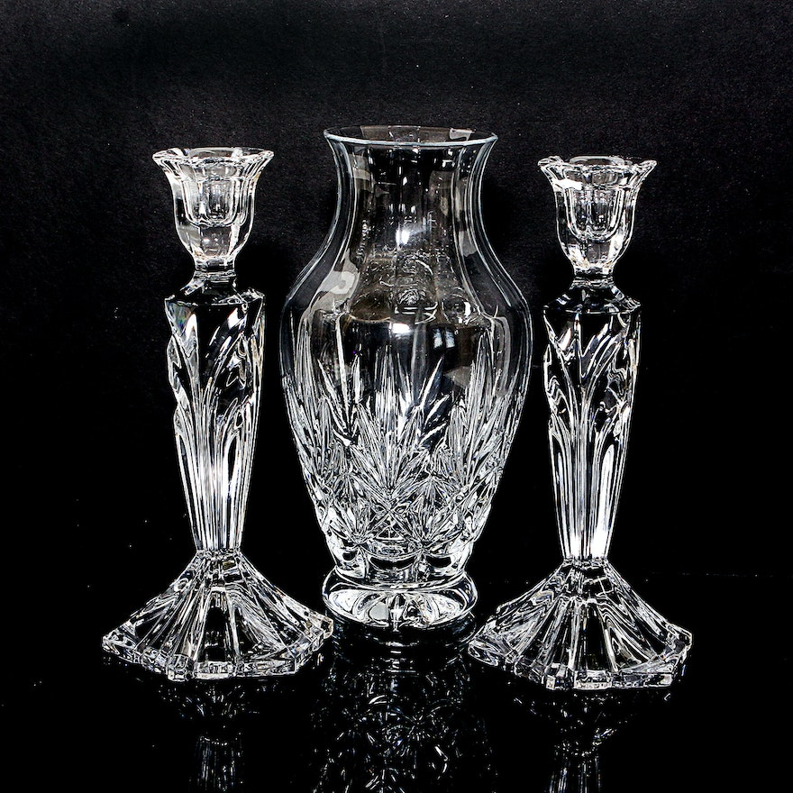 Fifth Avenue Crystal Candle Holders And Vase Ebth