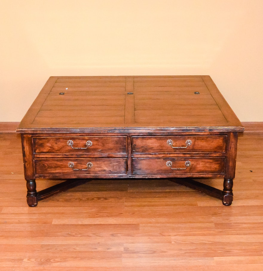 Square Wooden Coffee Table With Chest And Four Drawers Ebth