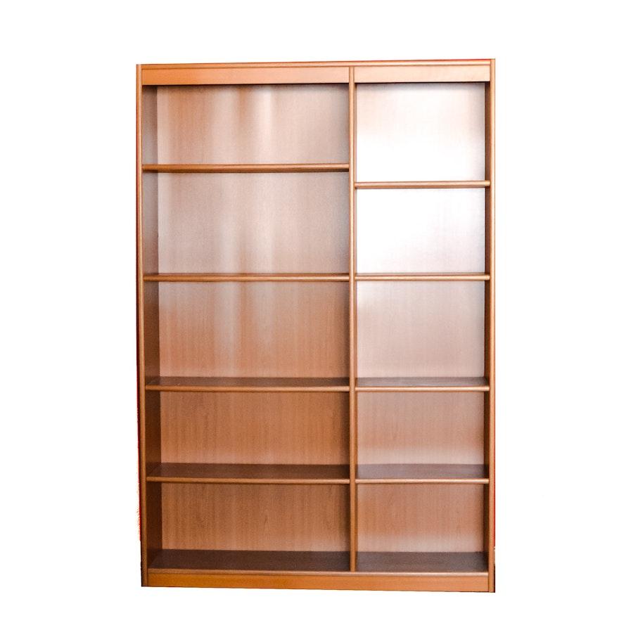 Modern Six Shelf Bookcase In Honey Brown