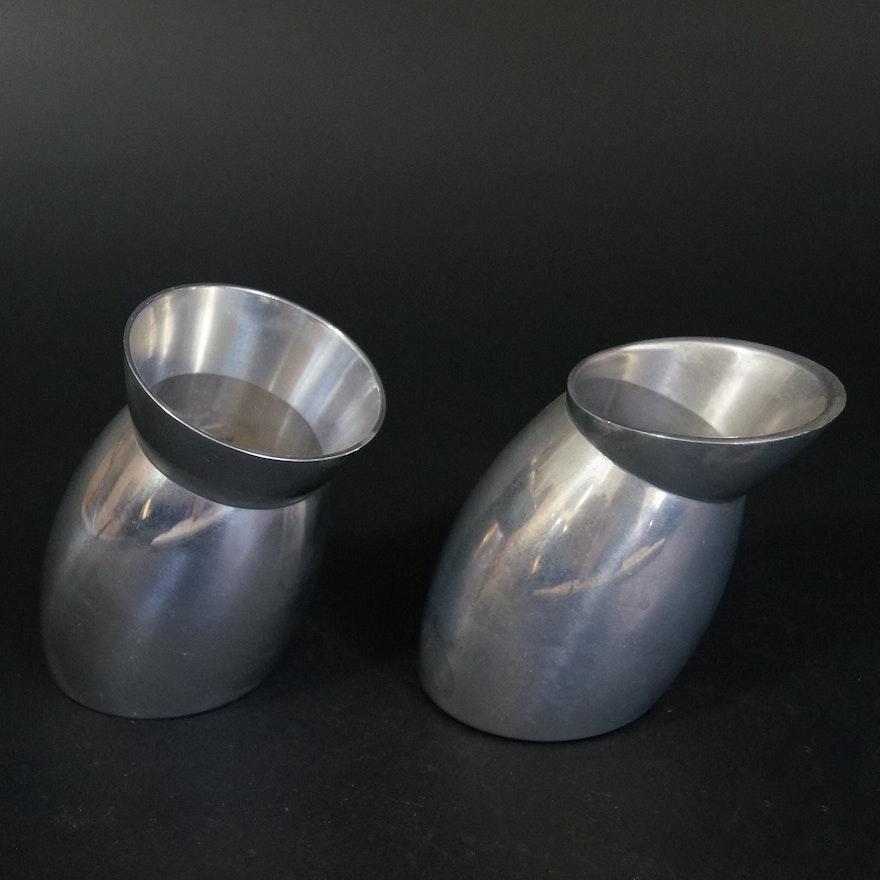 Pair Of Short Nambe Vases Ebth