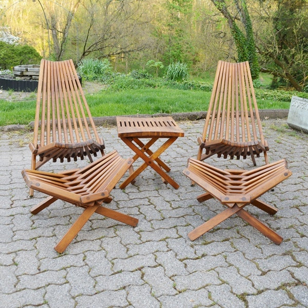 Retro Kentucky Stick Chairs, Footstools And Table