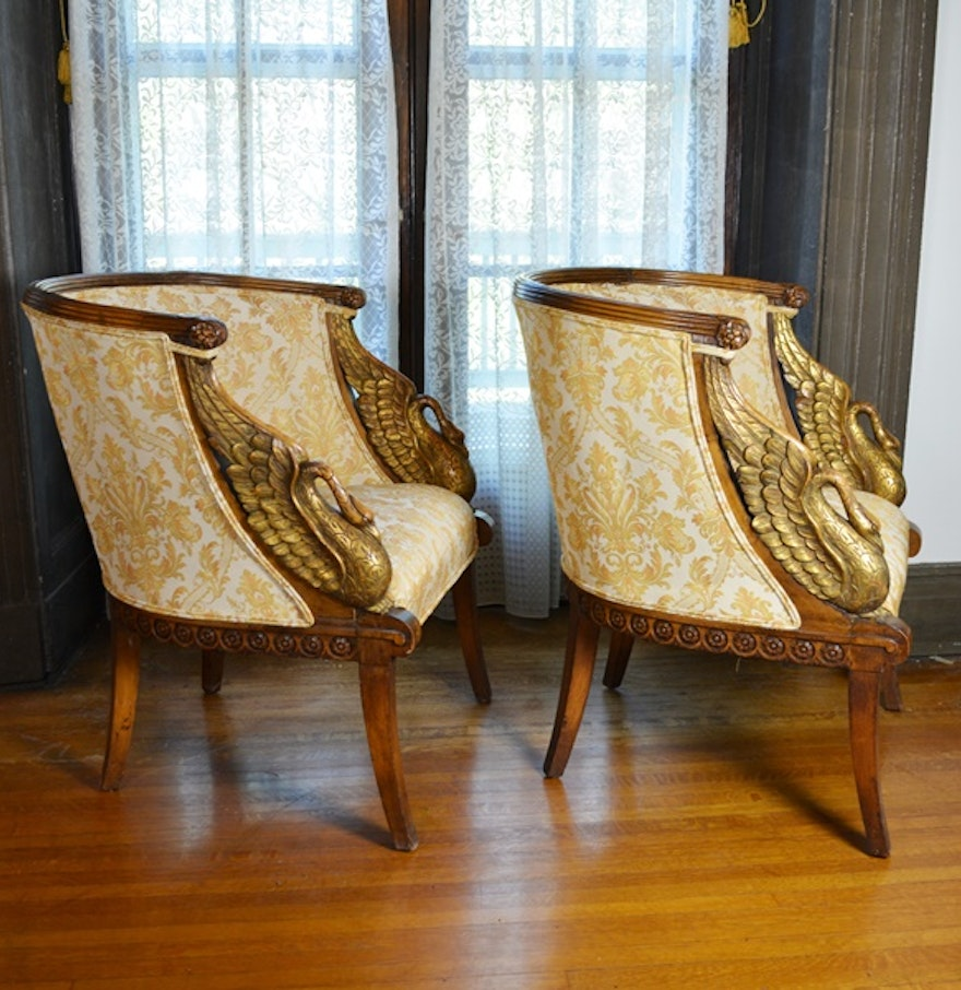 Pair of Beautiful Empire Style Swan Arm Barrel Chairs EBTH – Swan Arm Rocking Chair
