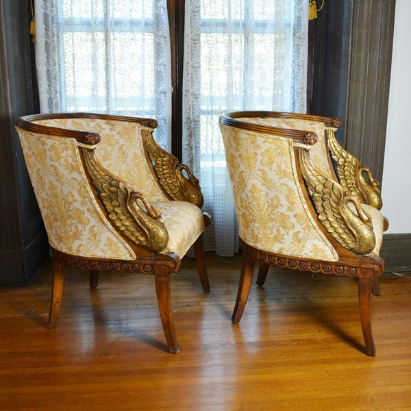 Beau Pair Of Beautiful Empire Style Swan Arm Barrel Chairs ...