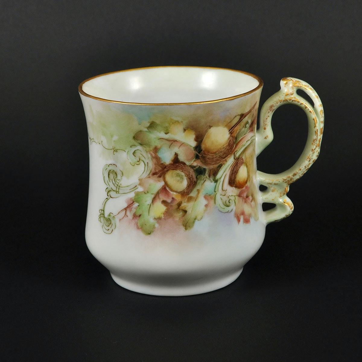 Hand Painted Porcelain Shaving Cream Mug by Mildred B Christian
