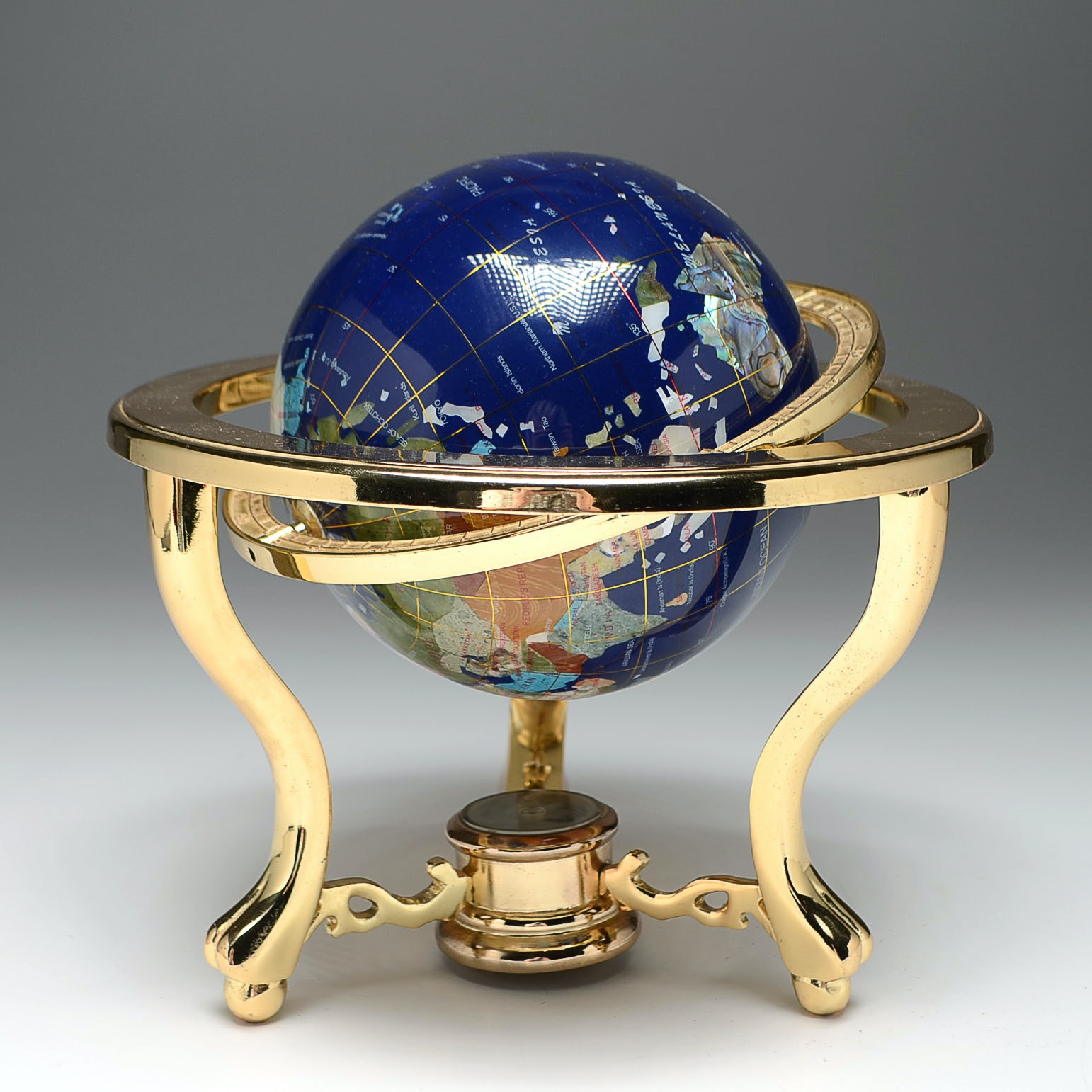 Inlaid Stone Desk Globe