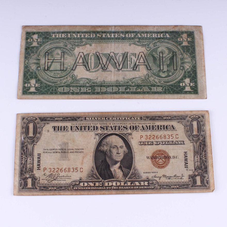 Two 1935a Hawaii Silver Certificate Dollar Bills Ebth
