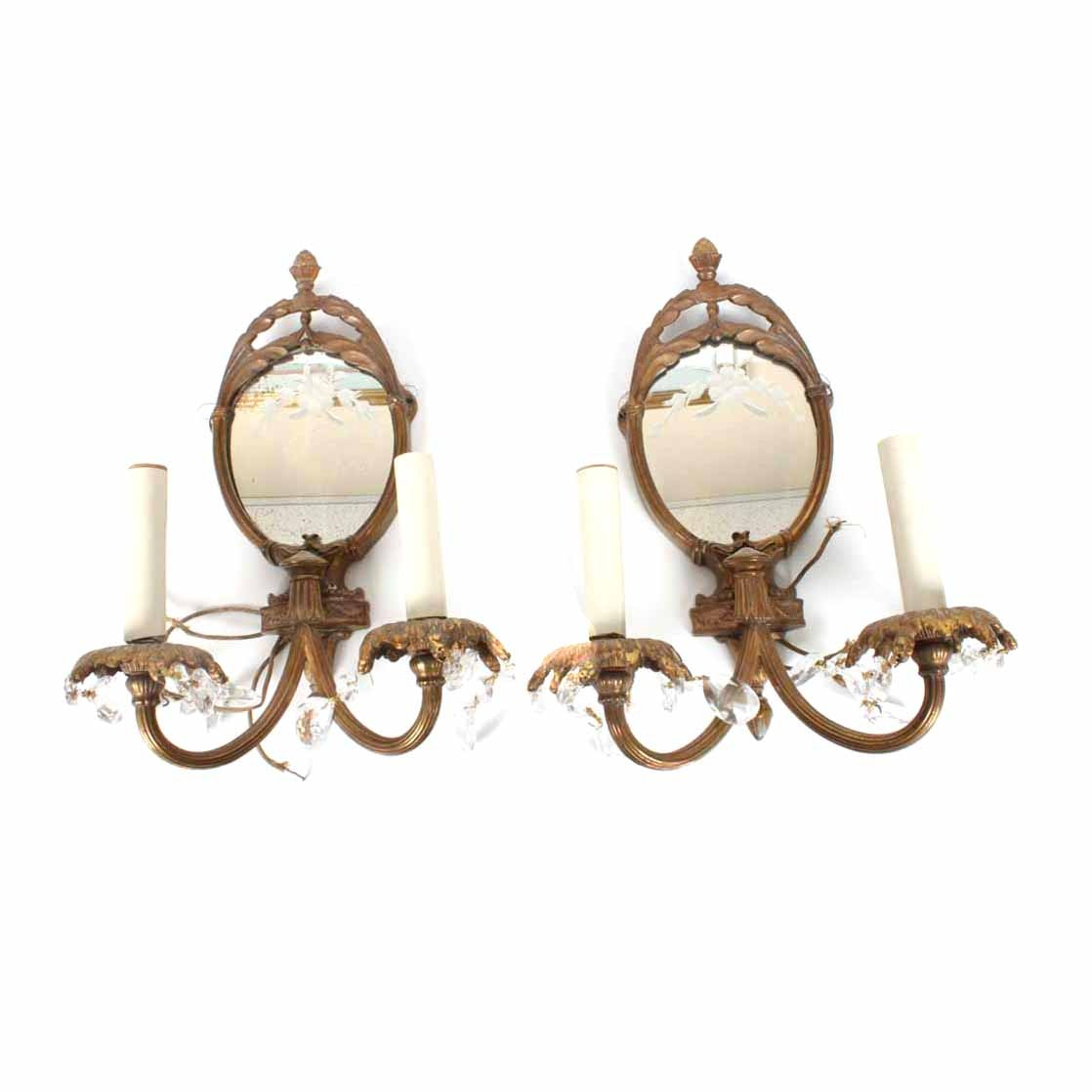 Two Vintage Electric Wall Sconces with Mirrors
