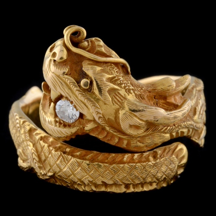 20K Yellow Gold and Diamond Dragon Bypass Ring