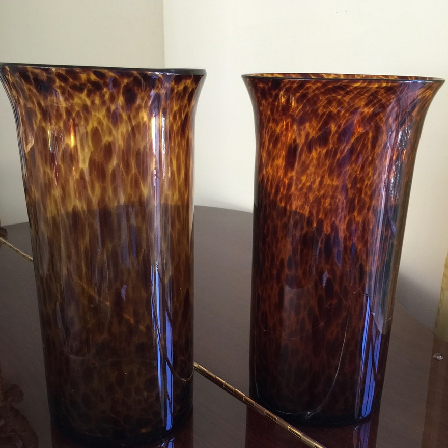 Pair Of Animal Print Fluted Vases Ebth