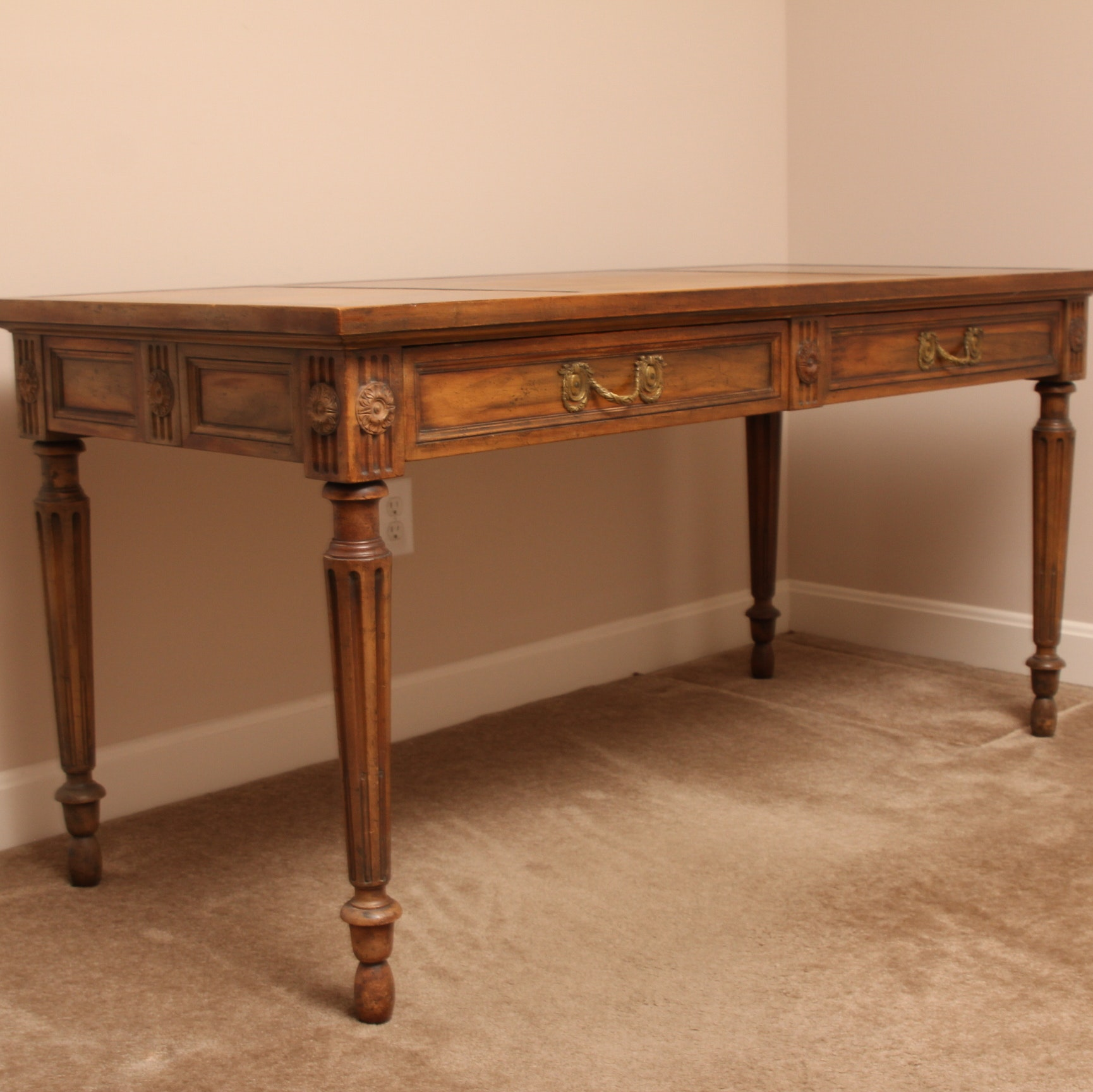 Leather Inlay Library Table