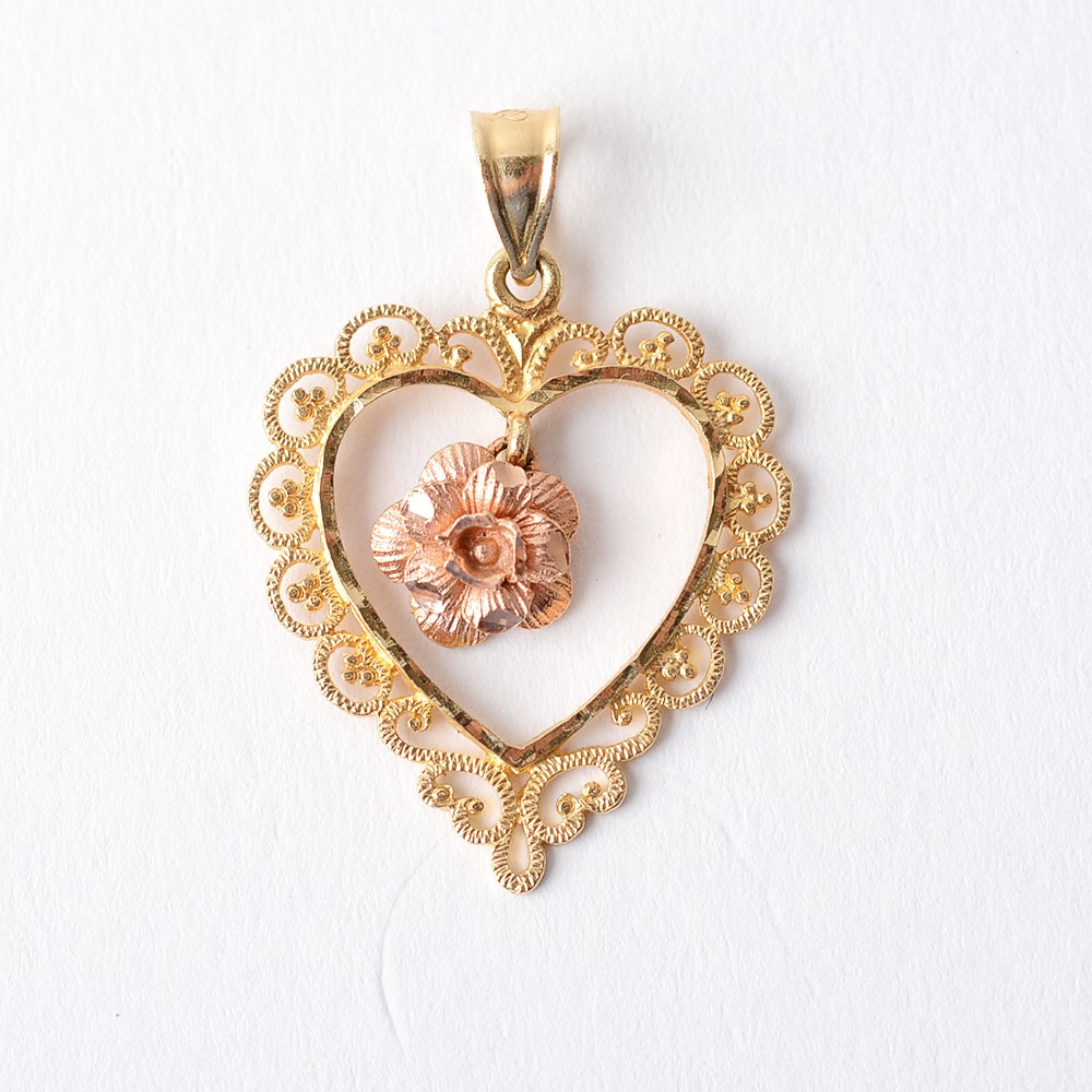 14KT Yellow and Rose Gold Beverly Hills Pendant