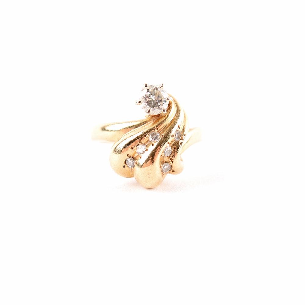 Women's 14KT Diamond Free Form Ring
