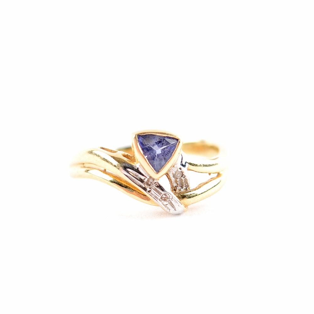 14KT Yellow Gold Tanzanite and Diamond Trillian Ring