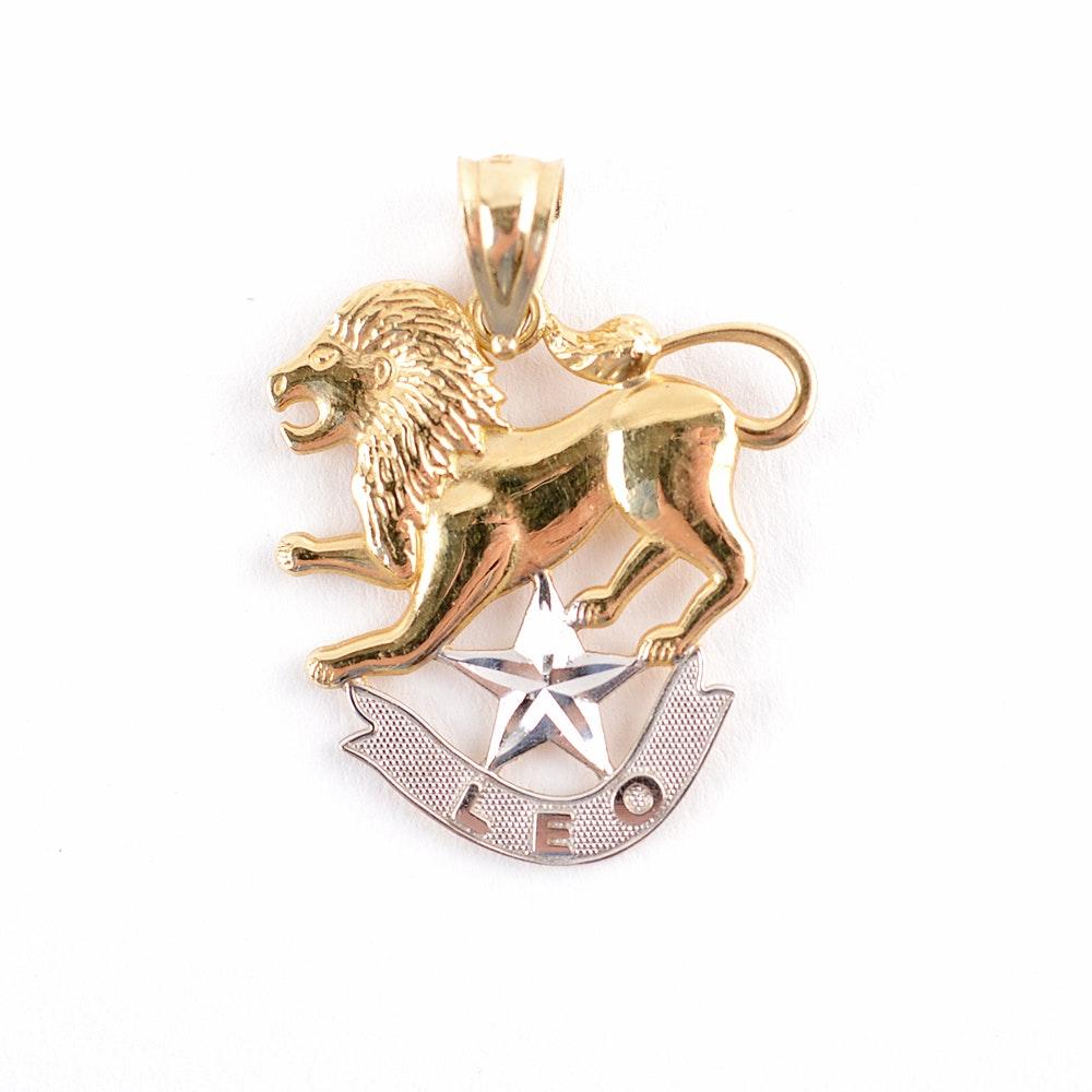 14KT Yellow Gold Zodiac Leo Pendant