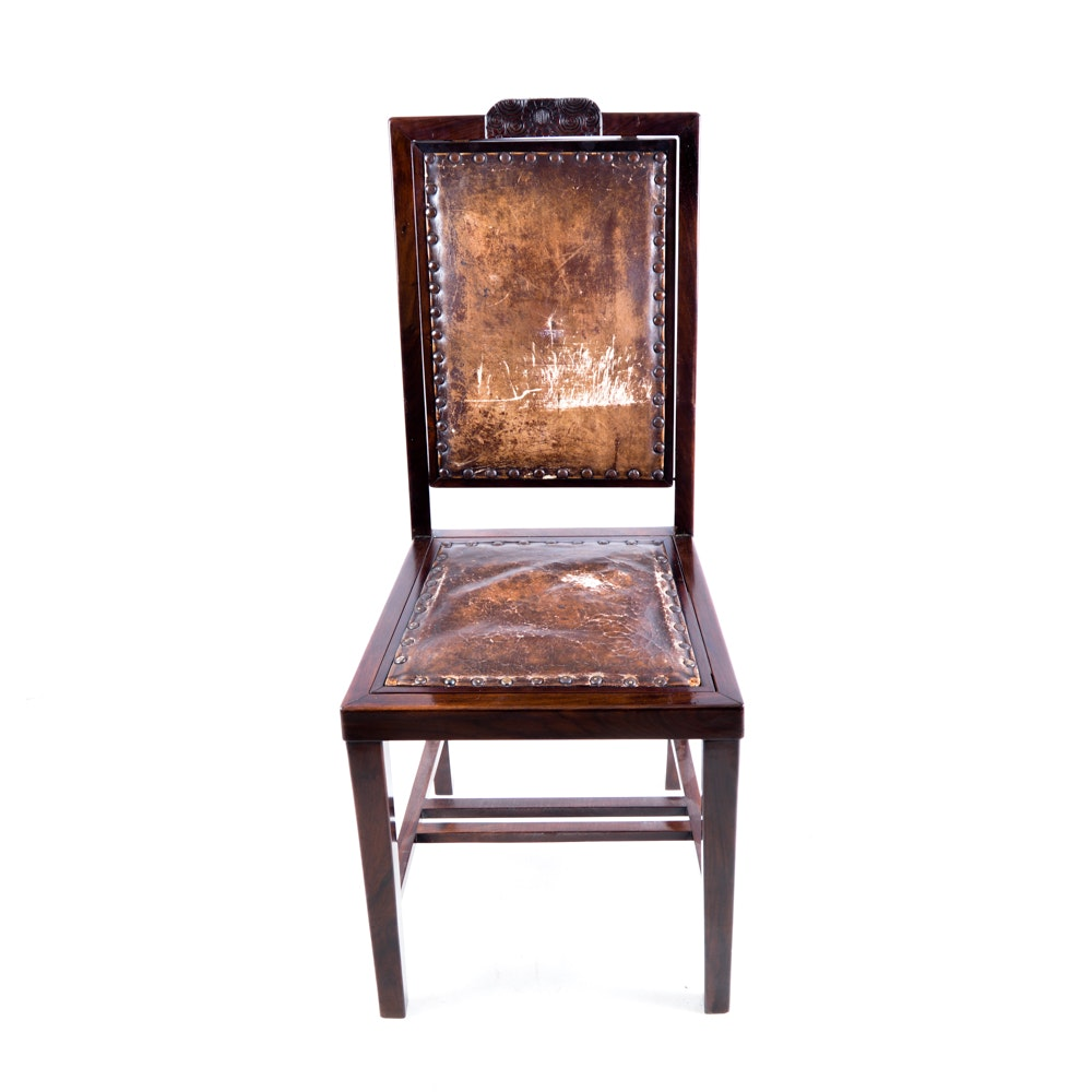 Leather Upholstered Chair with Reversible Seat and Back