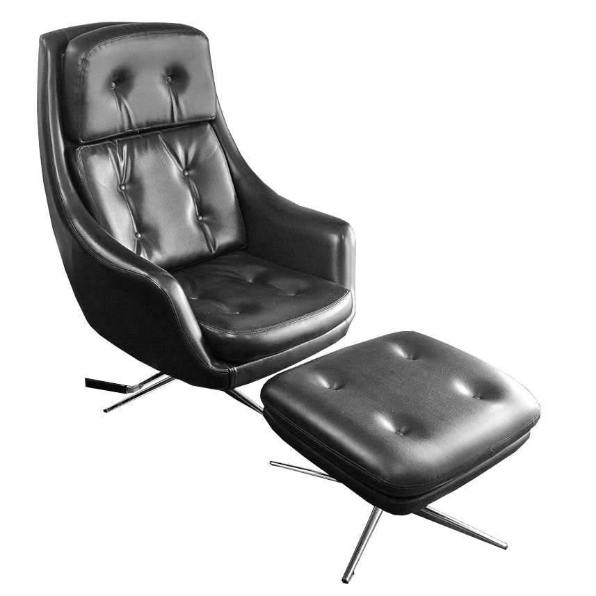 Mid Century Modern Black Leatherette Overman Lounge Chair and Ottoman