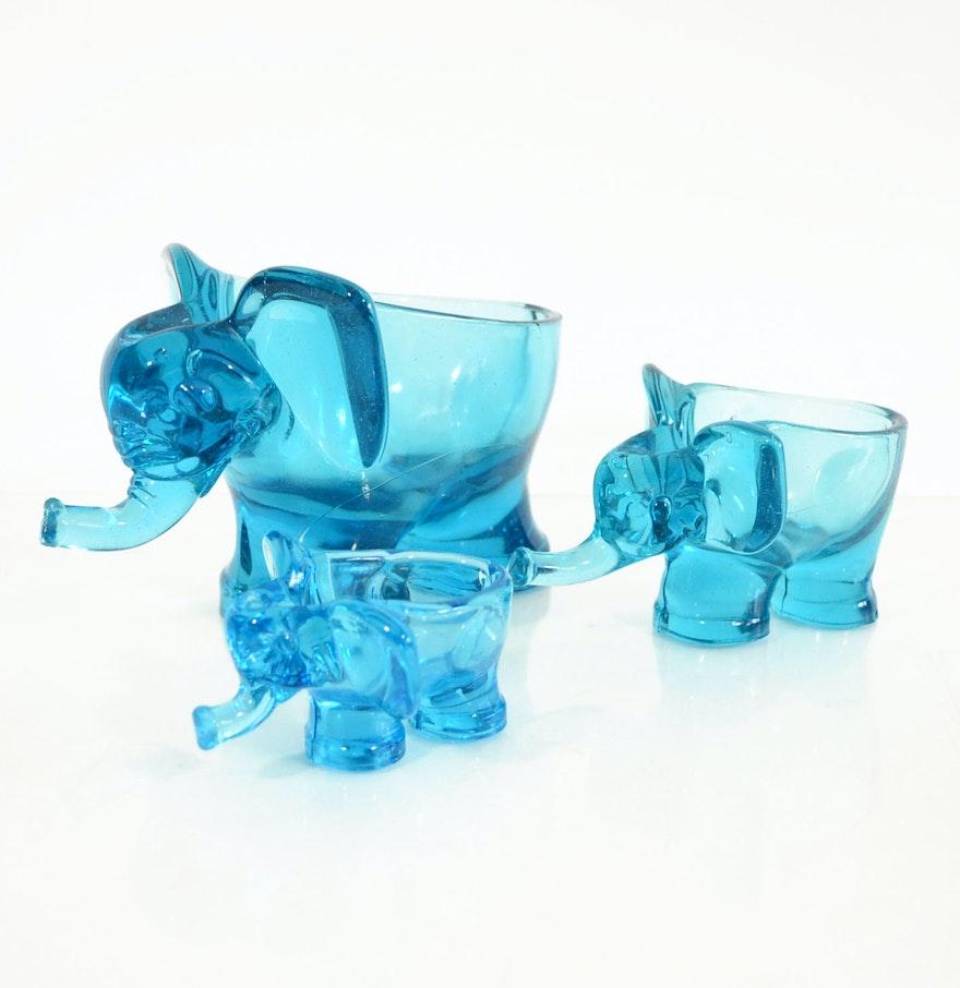 Blue art glass elephant centerpiece bowls or planters ebth