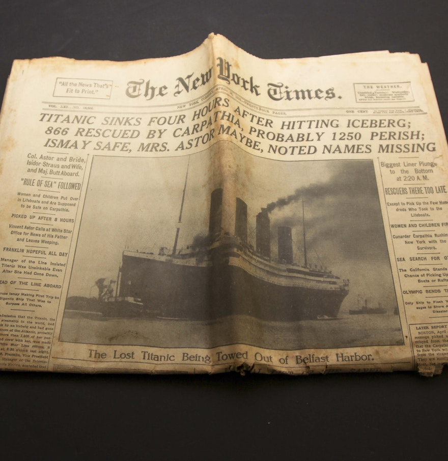 How to scrapbook newspaper clippings -  The New York Times Newspaper Titanic Sinks Dated April