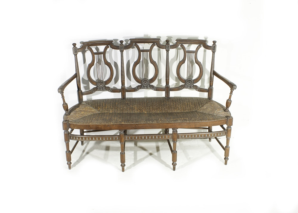 Lyre Back Bench with Rush Seat