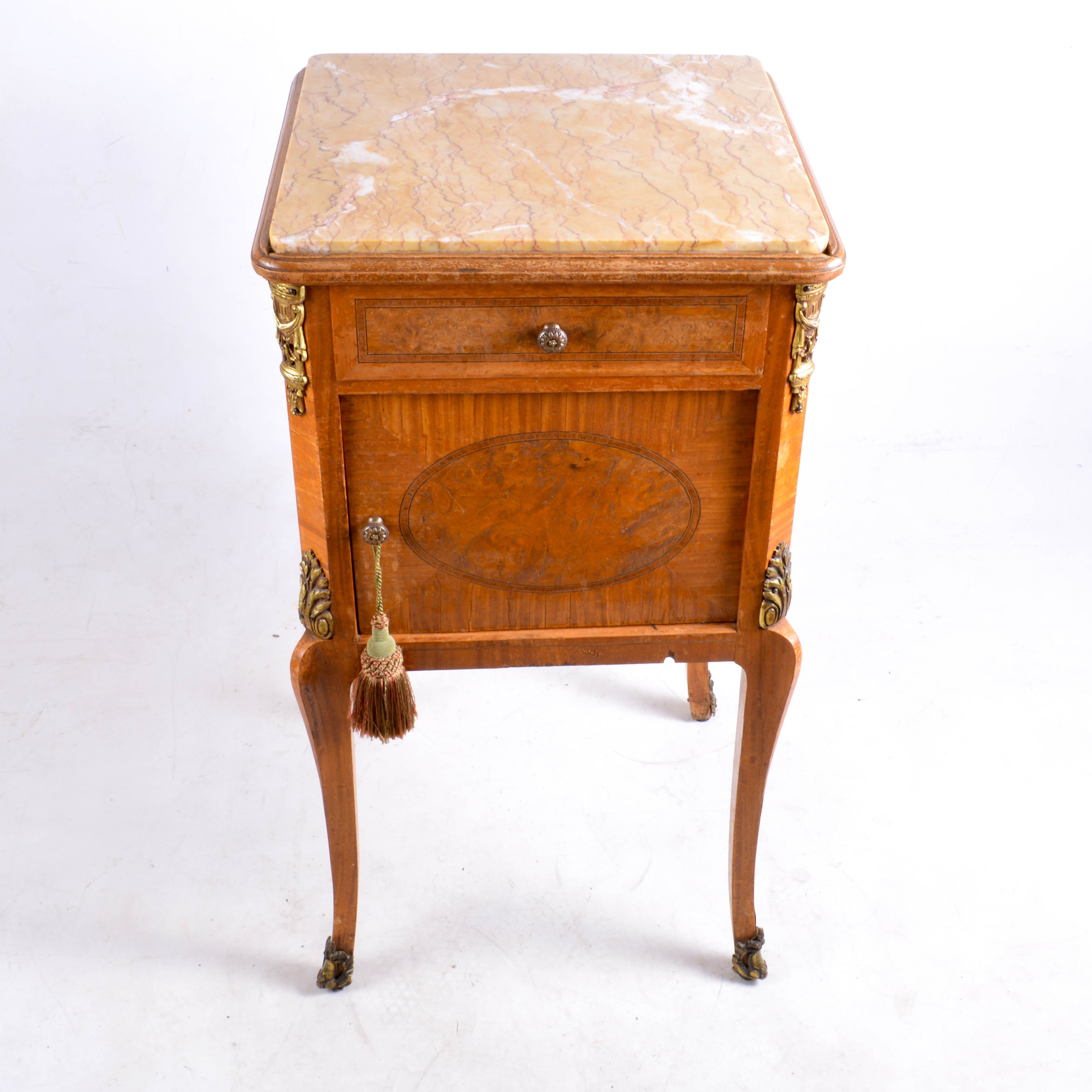 Antique Marble Top Humidor Stand with Parquetry