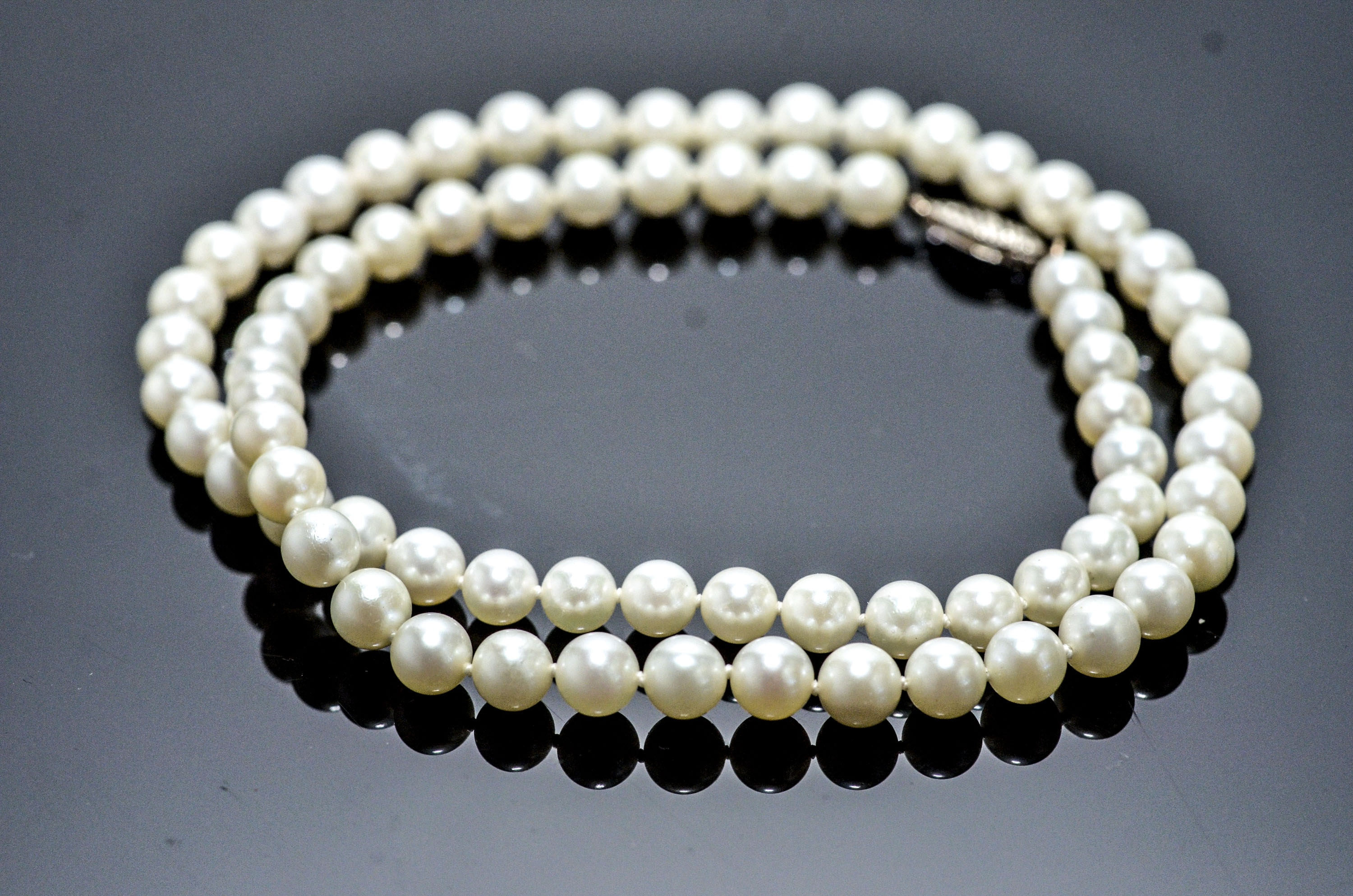 Cultured Genuine Pearl Necklace and 14K White Gold Clasp