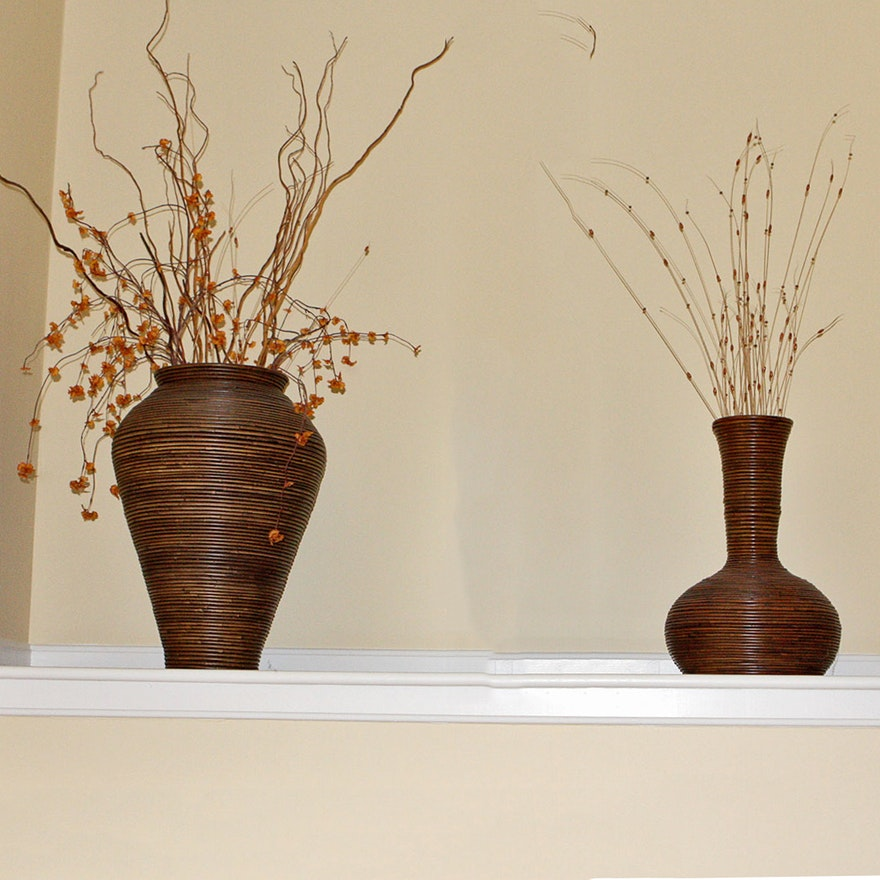 Large Wicker Decorative Vases Ebth