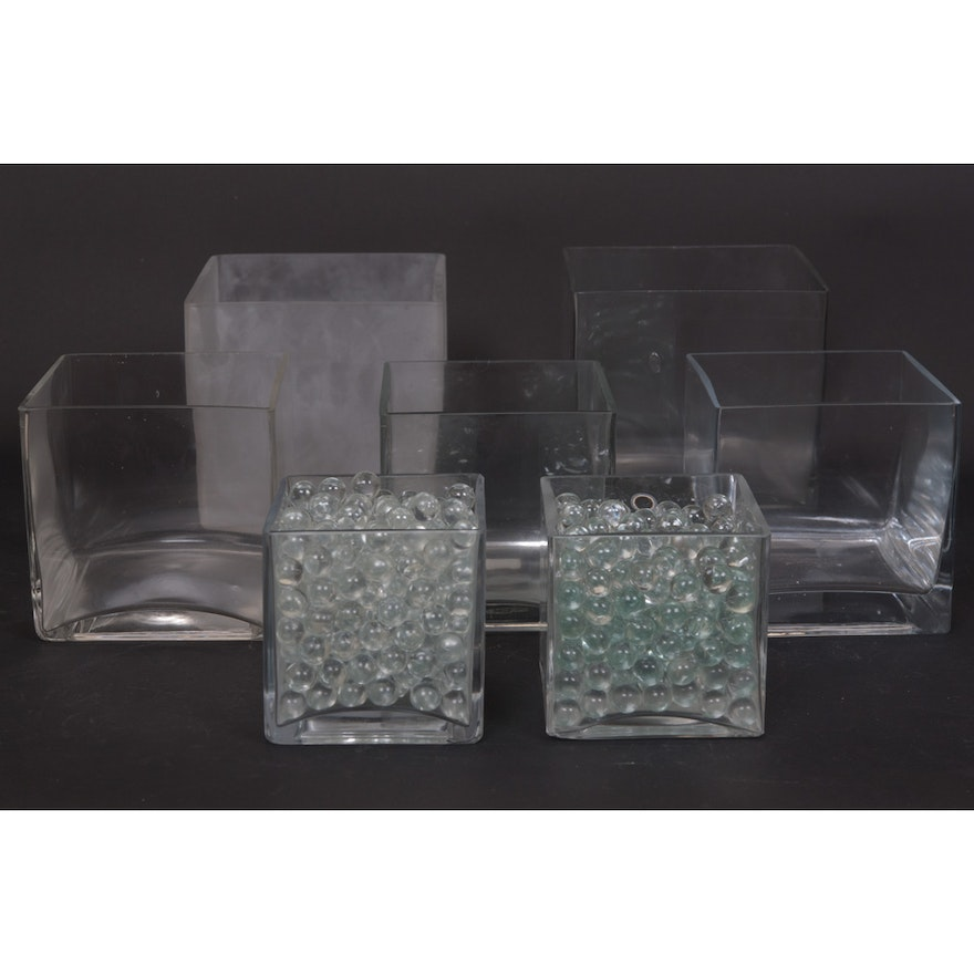 Square Vases And Marbles Ebth