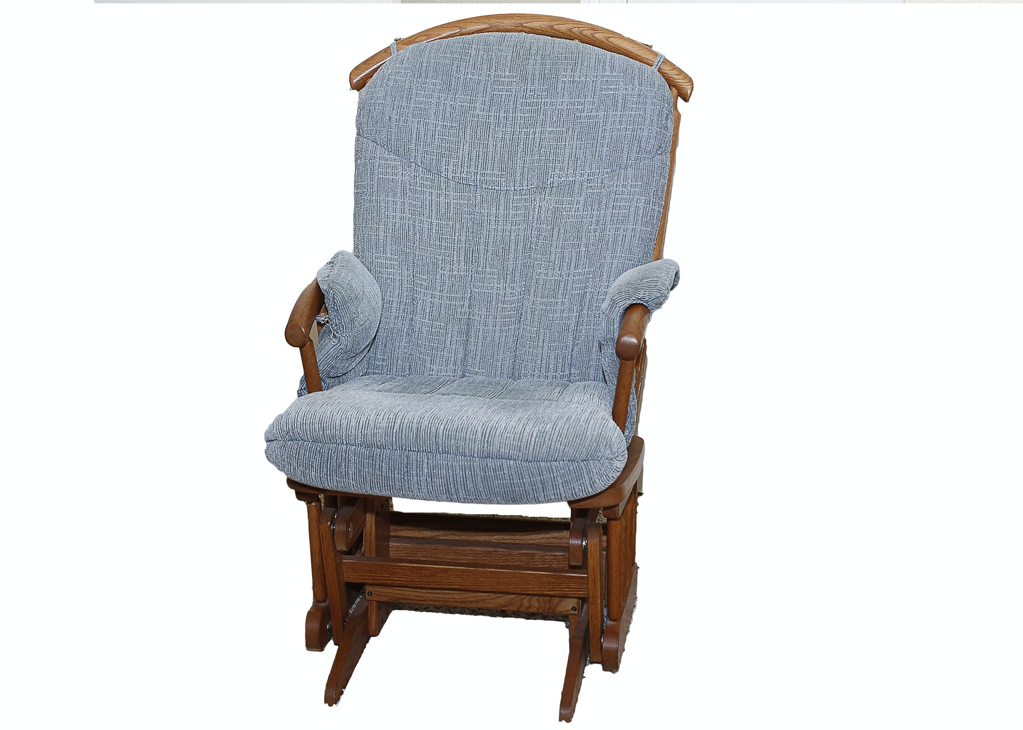 Dutailier Oak Glider with Blue Cushion