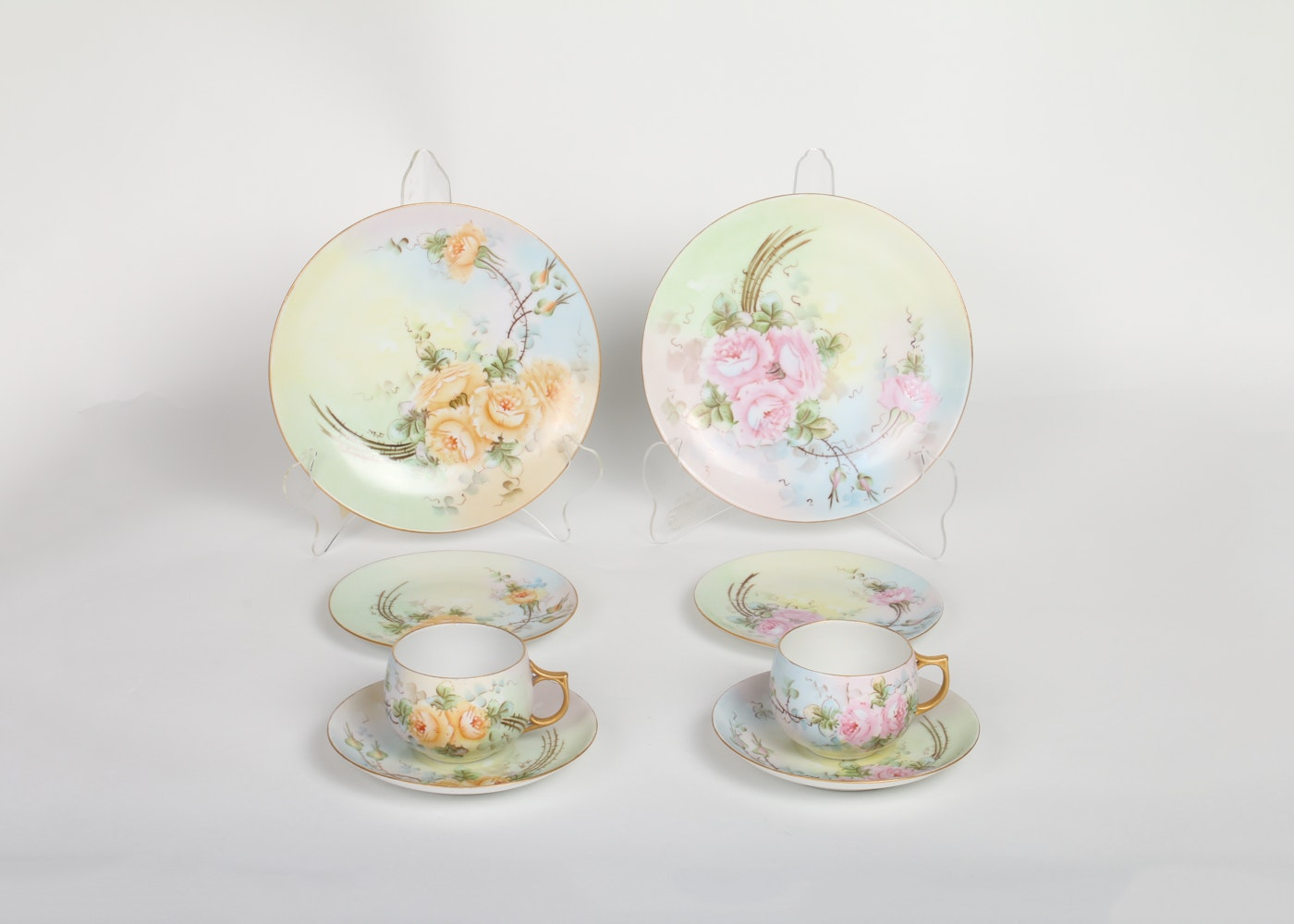 Sets of Hand-Painted China Luncheon Dishes