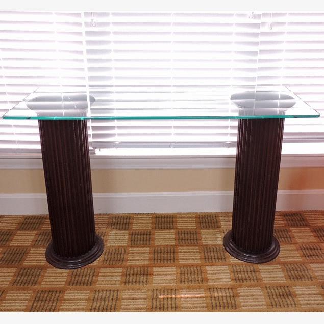 Glass Top Pillar Sofa Table Ebth