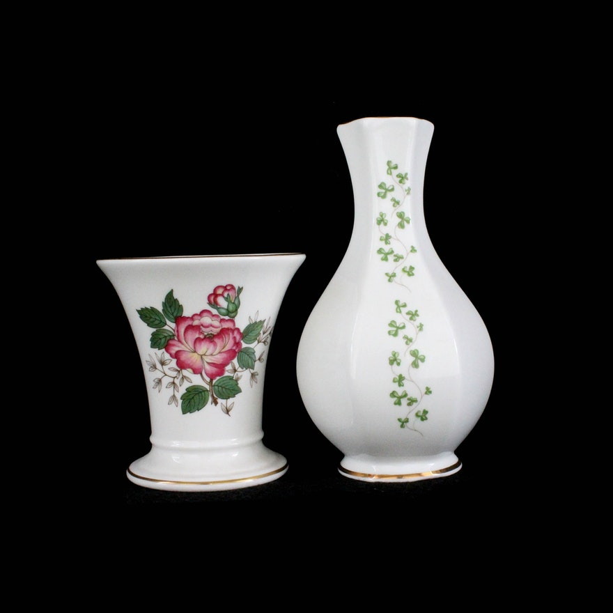 Pair Of Bone China Vases Including Wedgwood Ebth