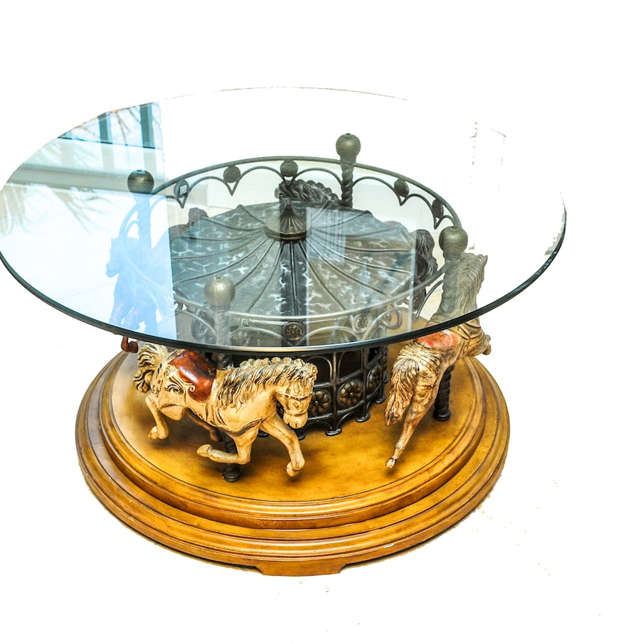 Carousel horse coffee table ebth carousel horse coffee table geotapseo Images
