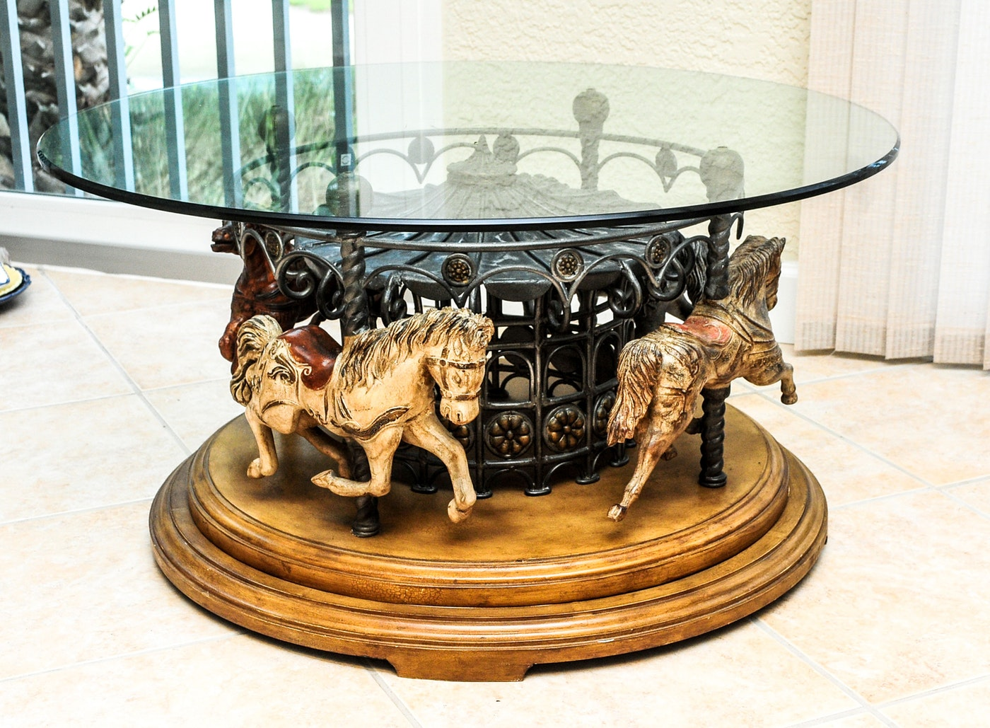 Carousel Coffee Table W Glass Top