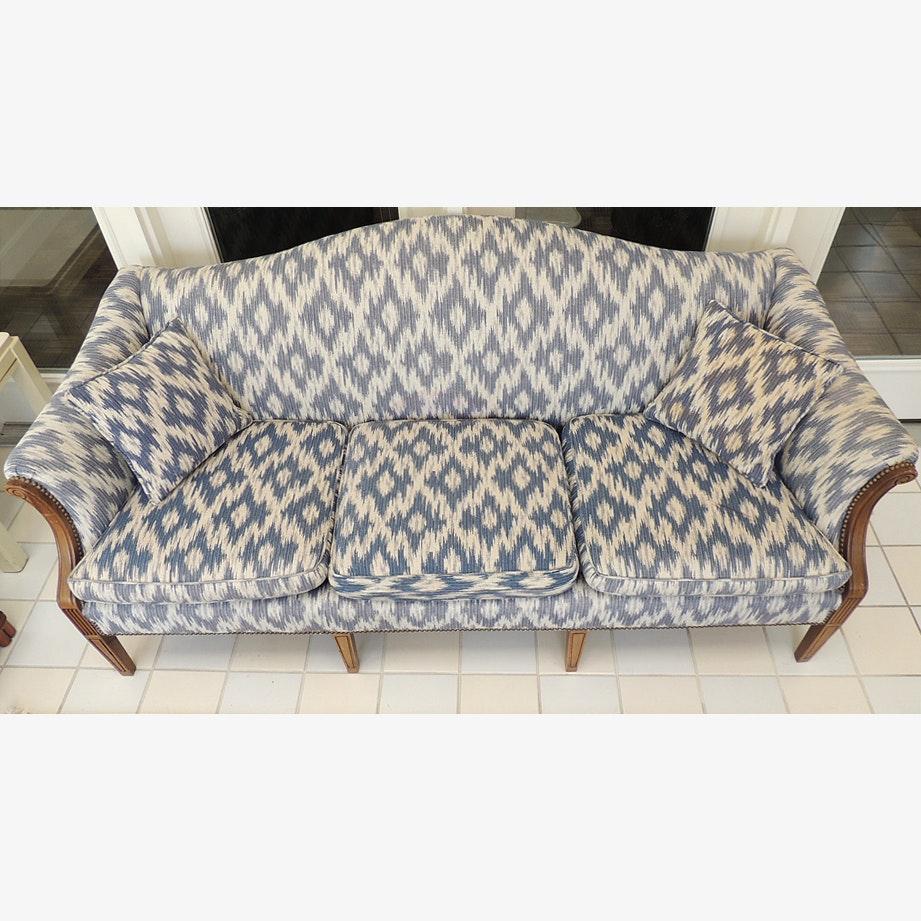 Ikat print blue and white camelback sofa ebth for Blue and white sofa