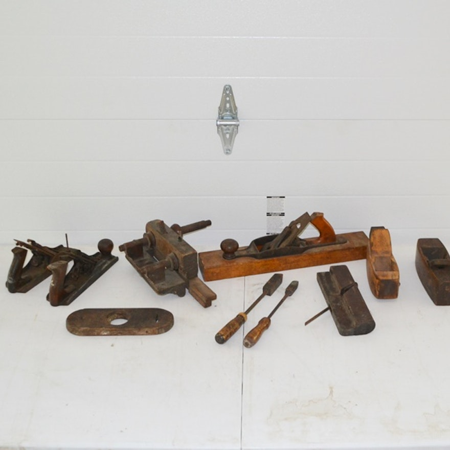 Collection Of Antique 1800s Vintage 1900s Woodworking Tools Ebth
