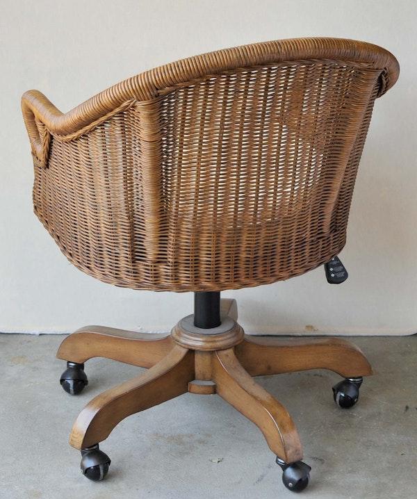 Rattan Swivel Desk Chair Ebth
