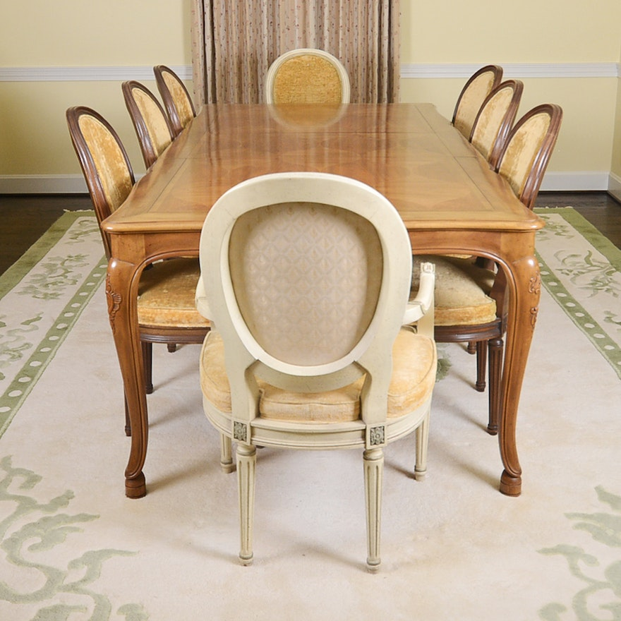 Baker Furniture French Provincial Dining Table With Louis Xvi Style Chairs Ebth