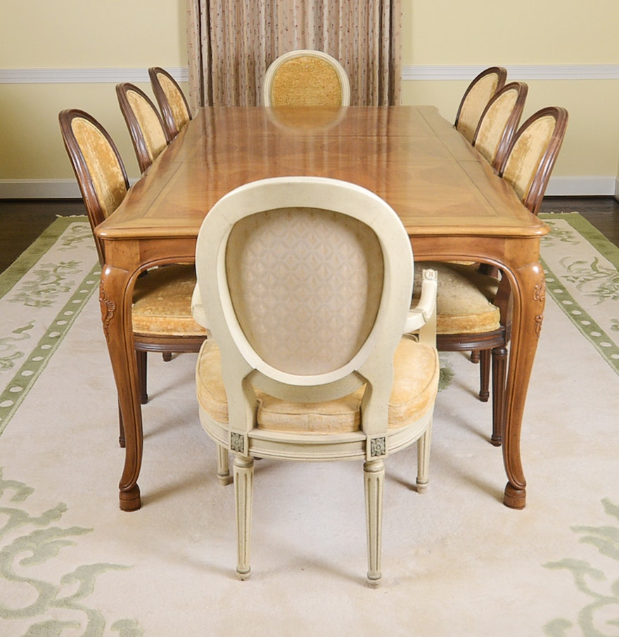 Baker Furniture French Provincial Dining Table With Louis Xvi