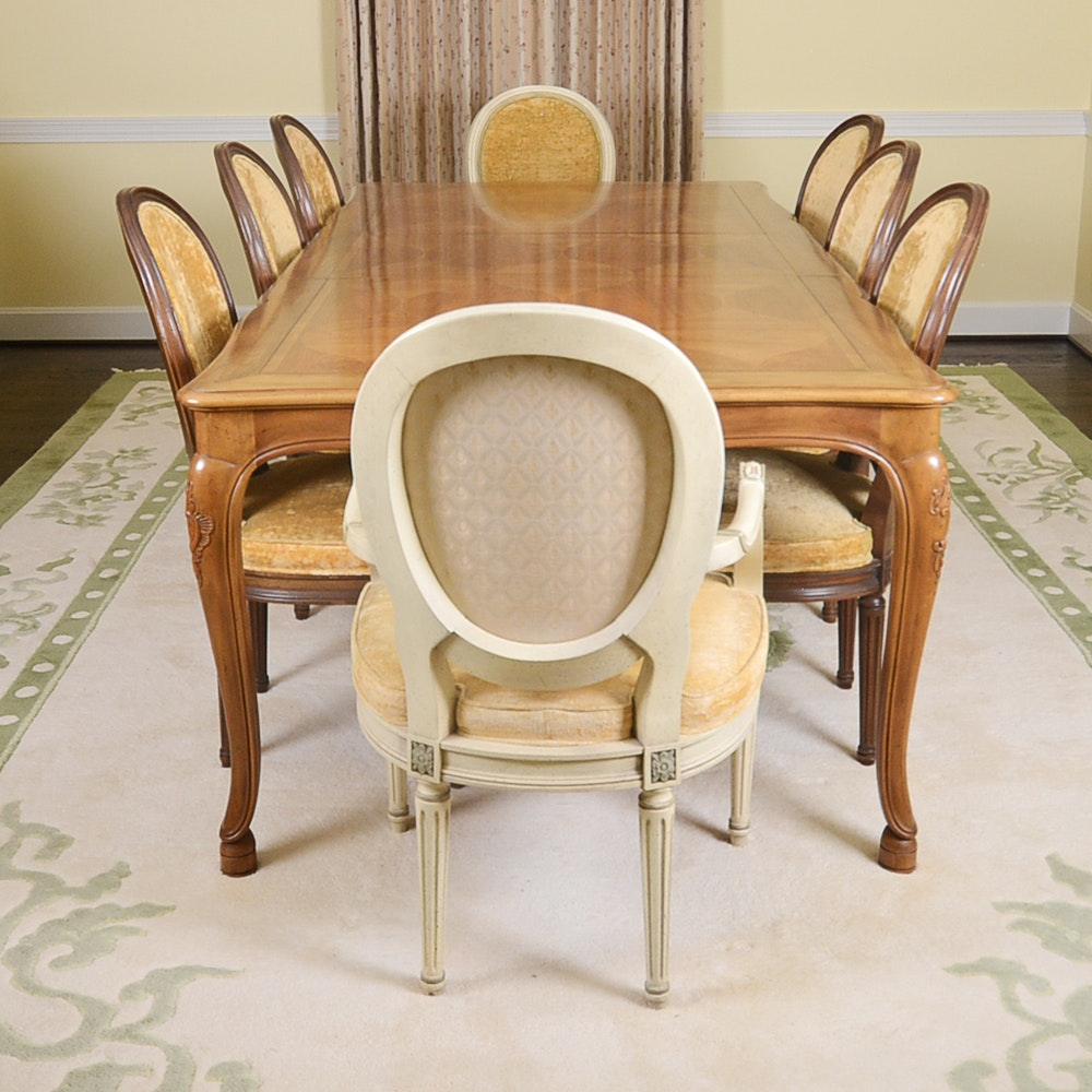 Baker Furniture French Provincial Dining Table With Louis XVI Style Chairs  ...