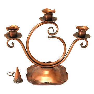 Copper Candleholder and Snuffer