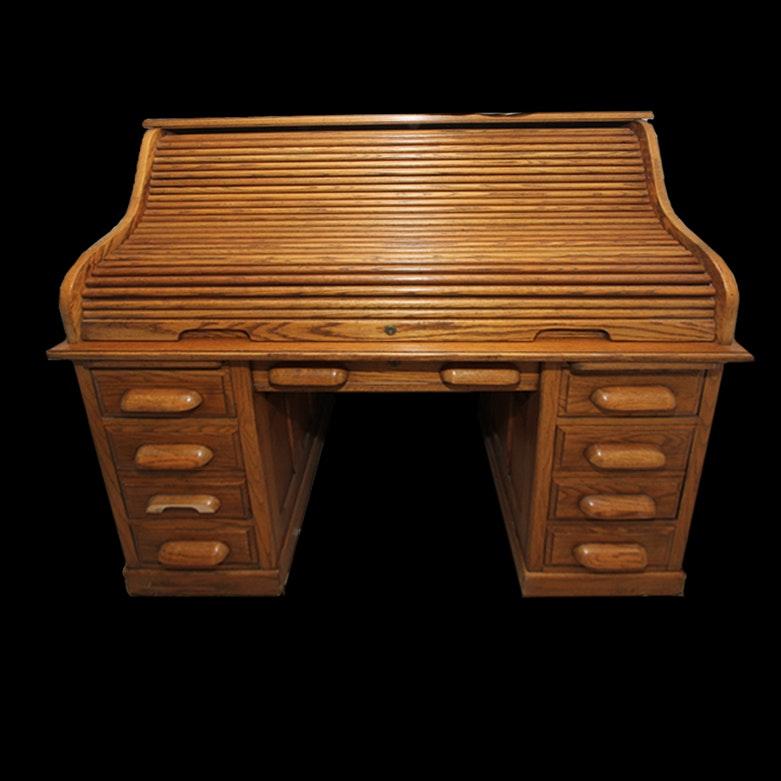 Vintage Oak National Mt Airy Rolltop Desk Ebth