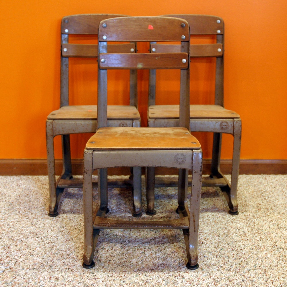 Three Vintage School Chairs By Envoy ...