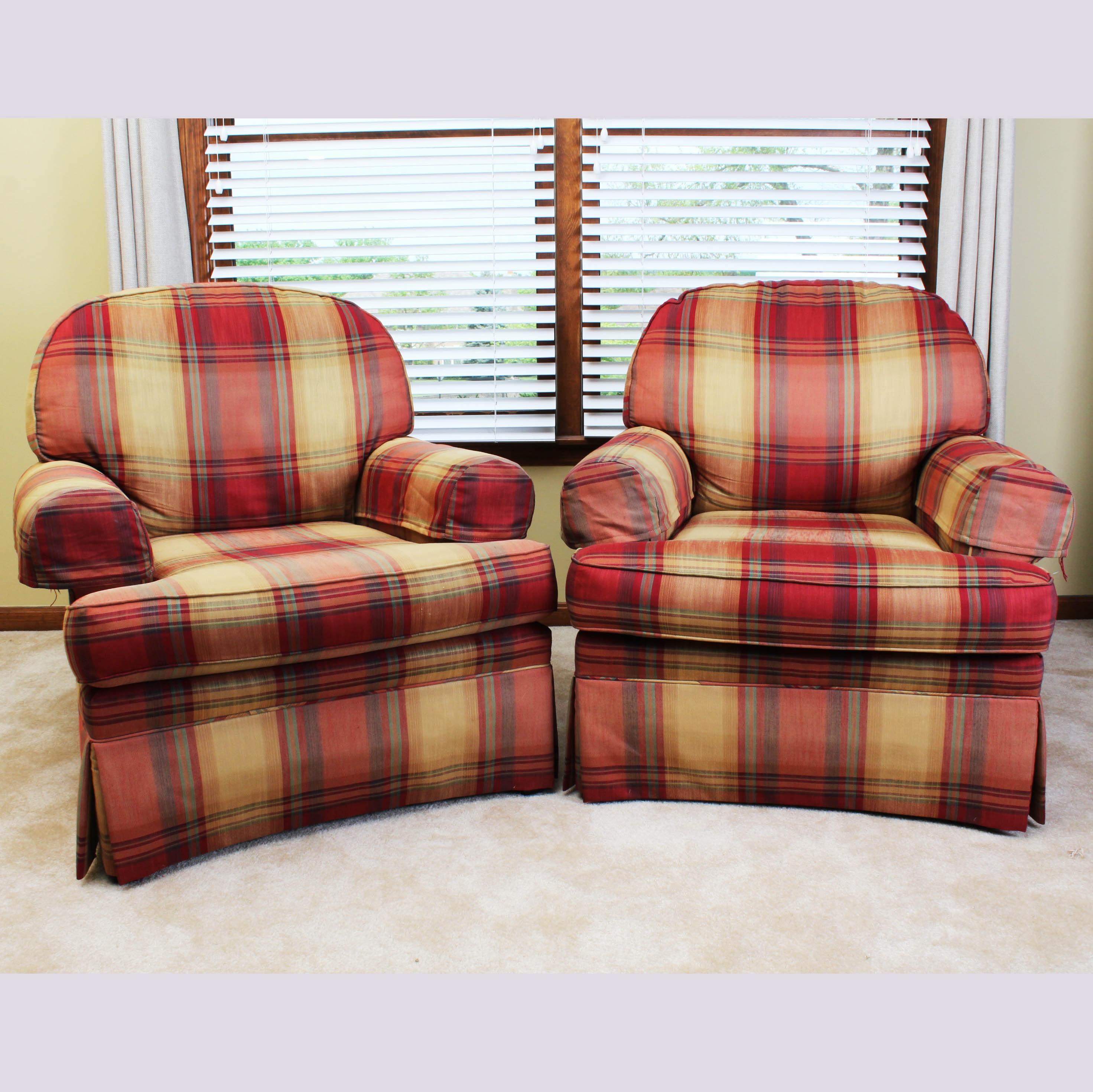 Vintage Pair Of Sherrill Plaid Club Chairs ...