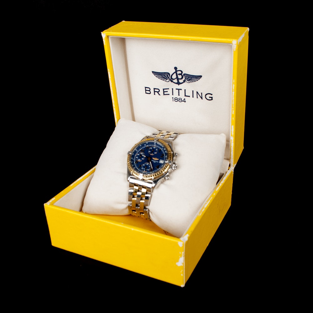 18K Yellow Gold Breitling Chrono Cock-Pit Mens Watch