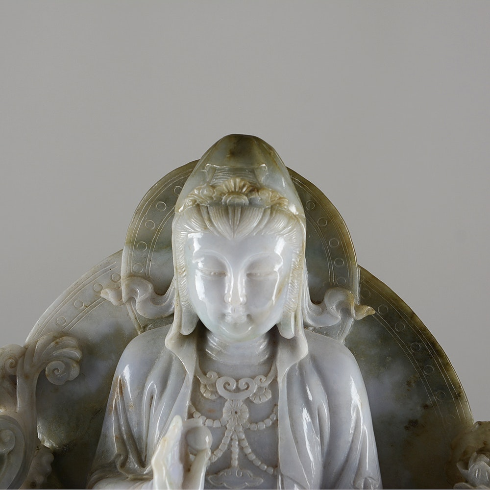 Large carved stone guanyin ebth