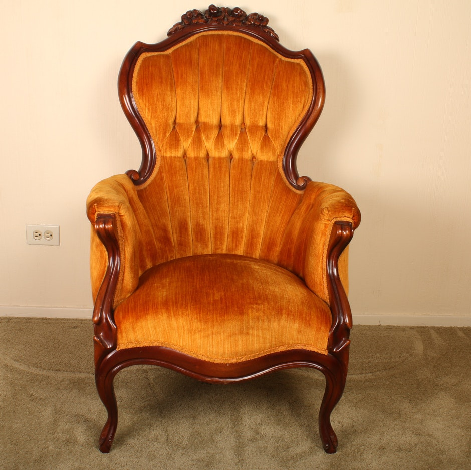 Ornate Wood and Velvet Parlor Chair