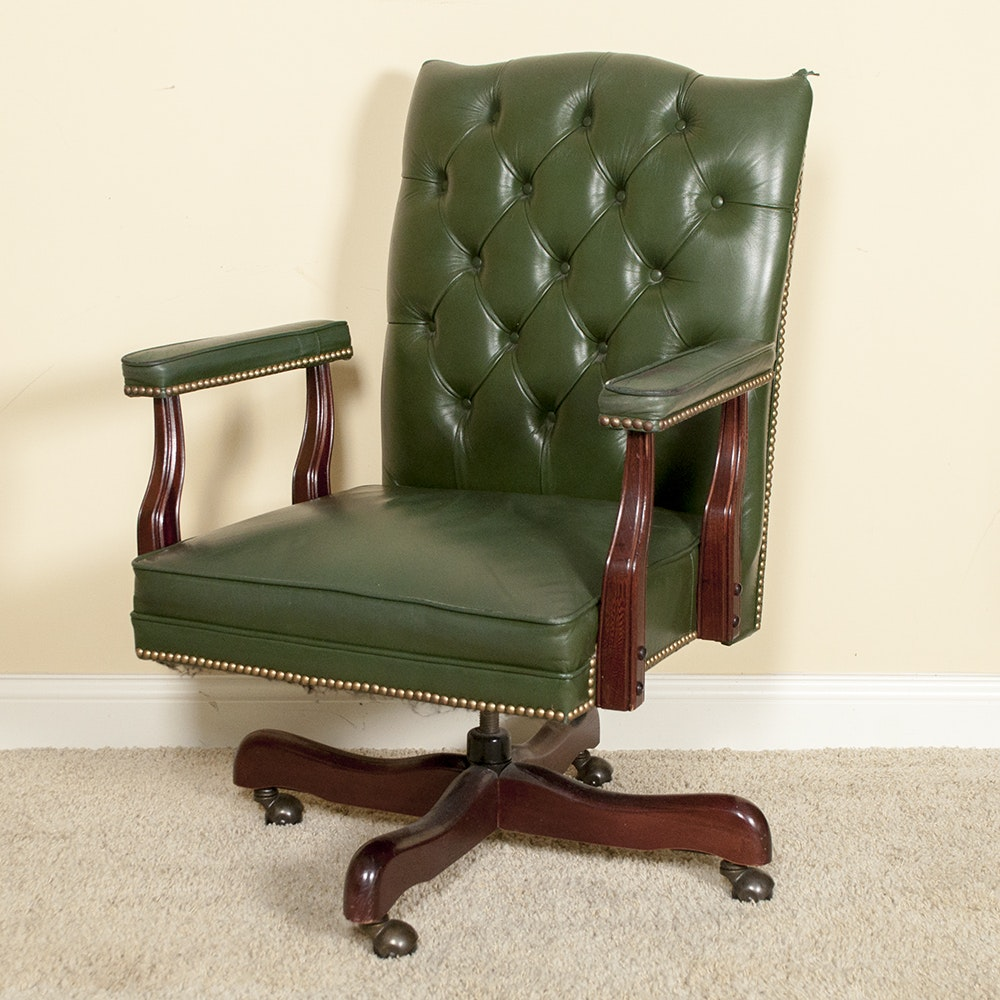 Vintage Green Leather Paoli Office Chair ...