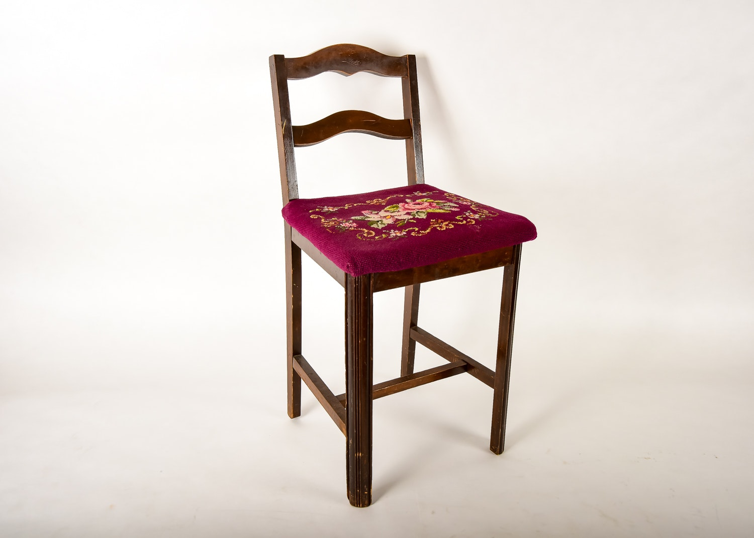 Chair Stool With Needlepoint Seat Ebth