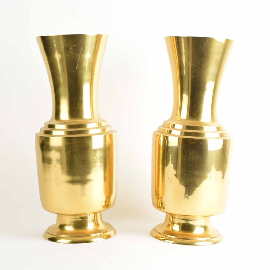 Pair Of Large Brass Tone Vases Ebth
