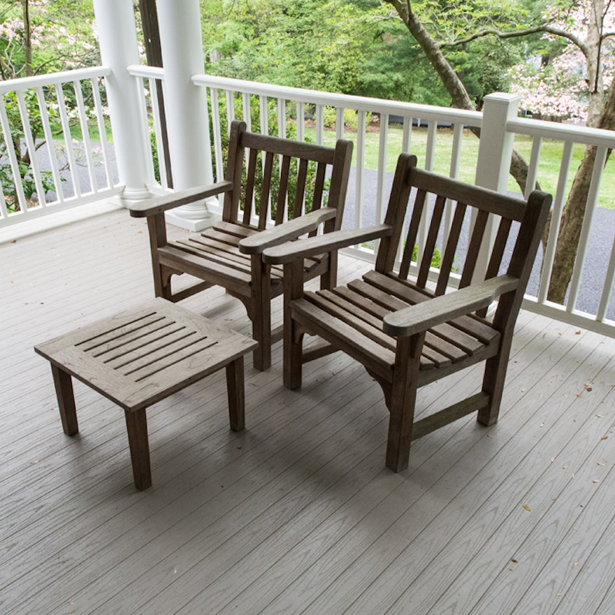 Smith Amp Hawken Teak Patio Chairs And Table Ebth
